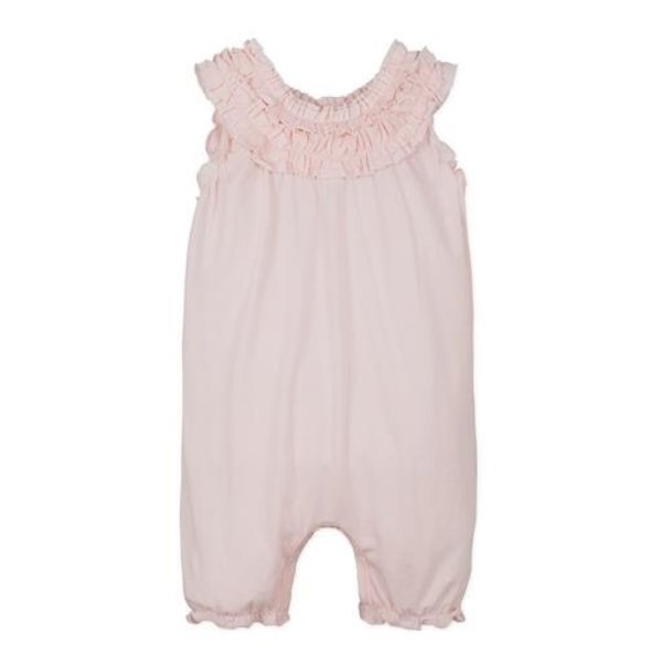 Feather Baby Feather Baby Double-Ruffle Romper - Solid Coral