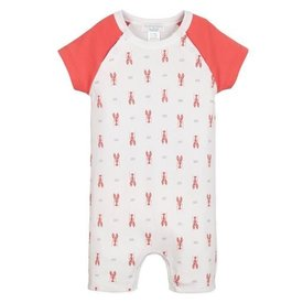 Feather Baby Feather Baby Short Sailor-Sleeve Romper - Lobsters on White