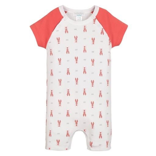 Feather Baby Short Sailor-Sleeve Romper - Lobsters on White