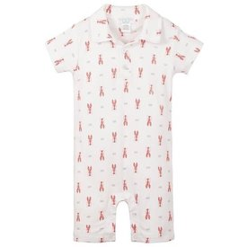 Feather Baby Feather Baby Collared Romper - Lobsters on White