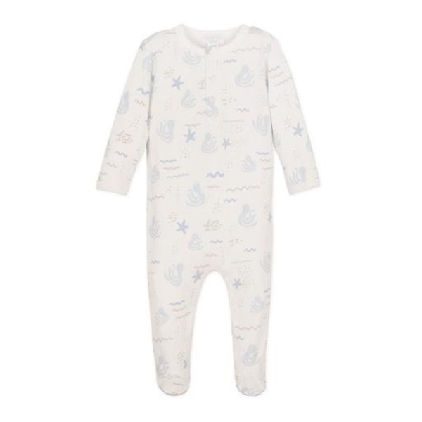 Feather Baby Feather Baby Henley Footie - Octopi Blue on White