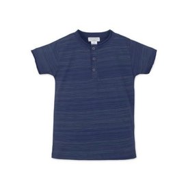 Feather Baby Feather Baby Henley T-Shirt - Stripe on Indigo