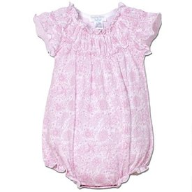 Feather Baby Feather Baby Ruched Bubble - Chloe's Floral - Pink on White