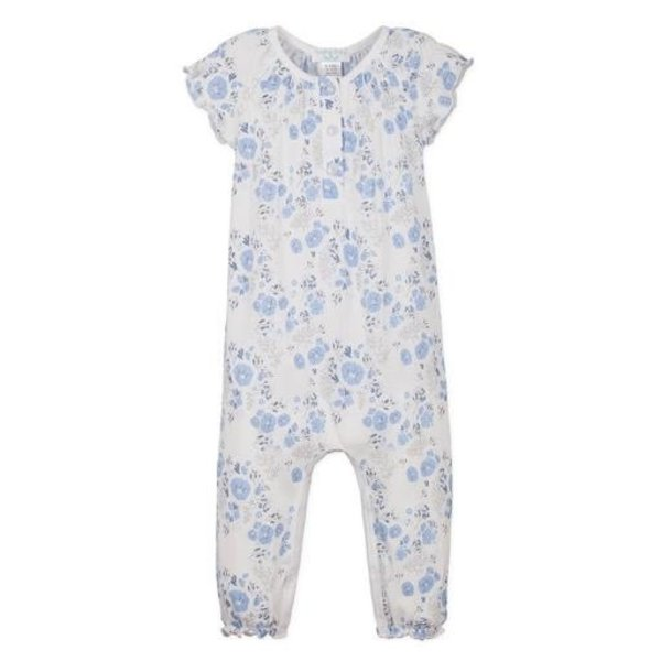 Feather Baby Feather Baby Ruched Romper - Maria Blue on White