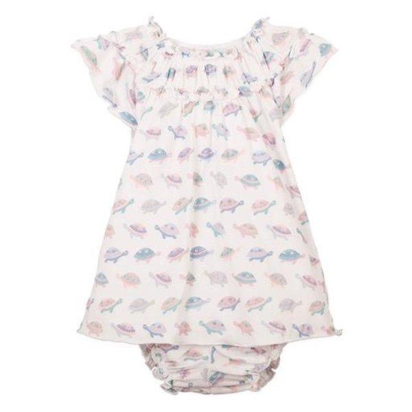 Feather Baby Feather Baby Ruched Tunic & Bloomer Set - Turtles on White