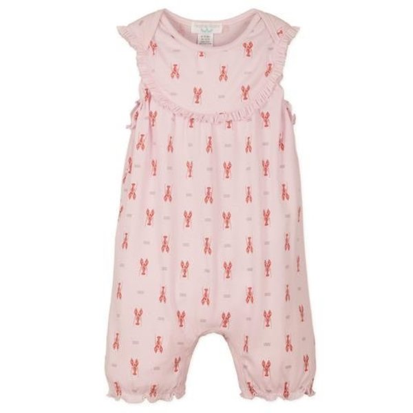 Feather Baby Feather Baby Yoke Romper - Lobster on Pink
