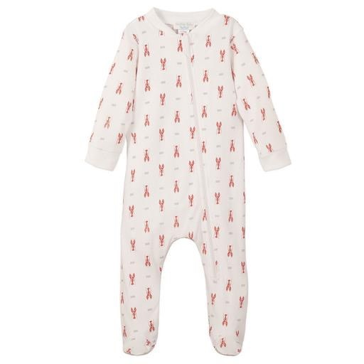 Feather Baby Zipper Footie - Red Lobsters on White