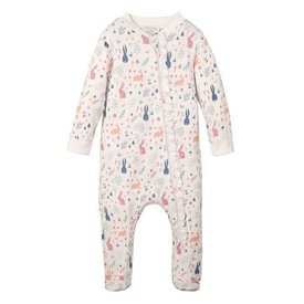 Feather Baby Feather Baby Zipper Footie - Rabbit Hole Pink on White