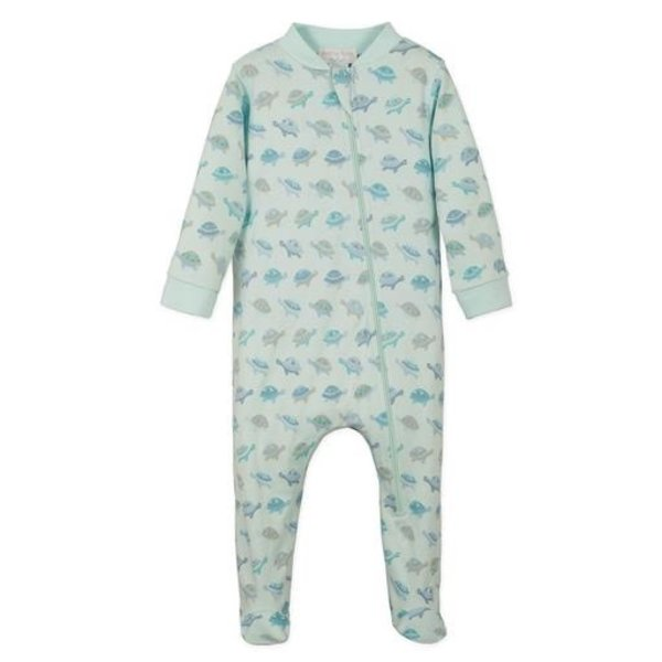 Feather Baby Feather Baby Zipper Footie - Turtles on Aqua