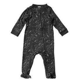Feather Baby Feather Baby Zipper Footie - Rocket to the Moon on Black