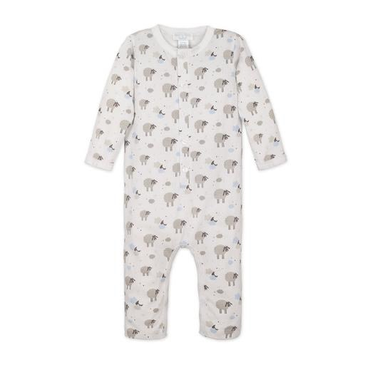 Feather Baby Long John - Sheep Blue on White