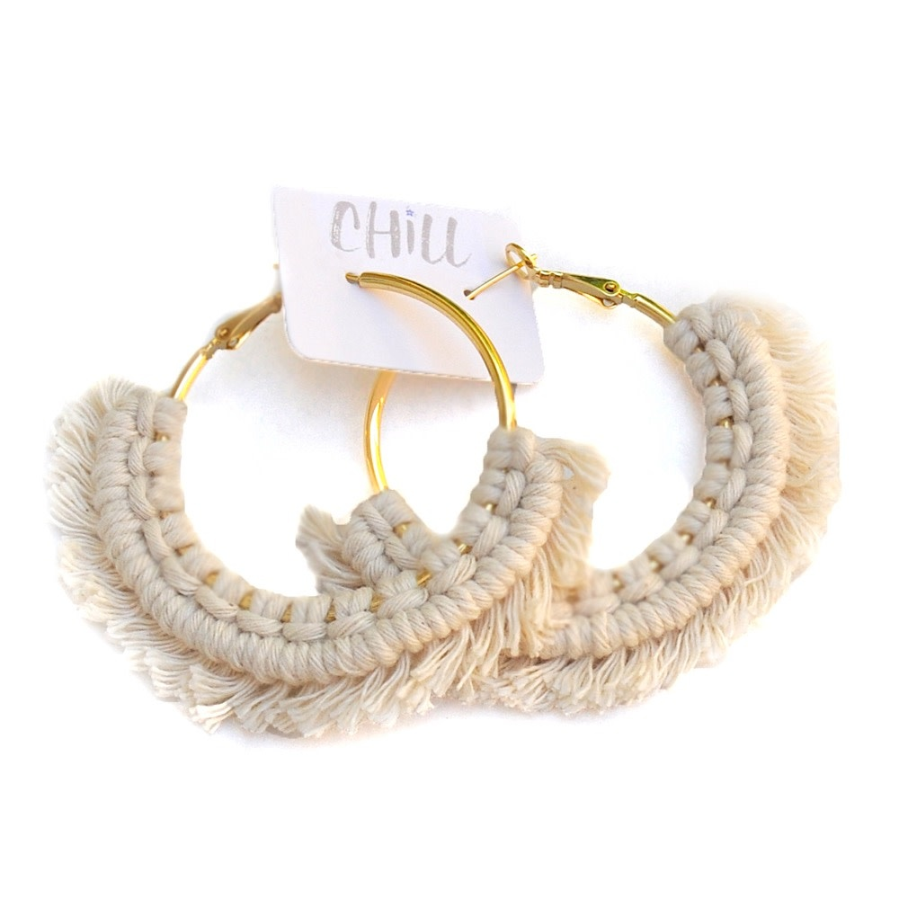 C/Hill Macrame Earrings - Natural on Gold