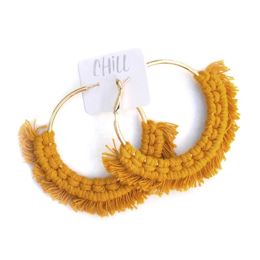 C/Hill C/Hill Macrame Earrings - Mustard on Gold
