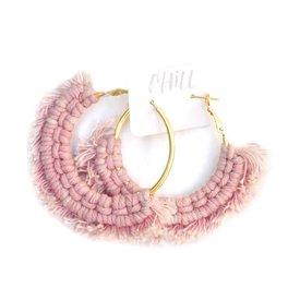 C/Hill C/Hill Macrame Earrings - Pink on Gold
