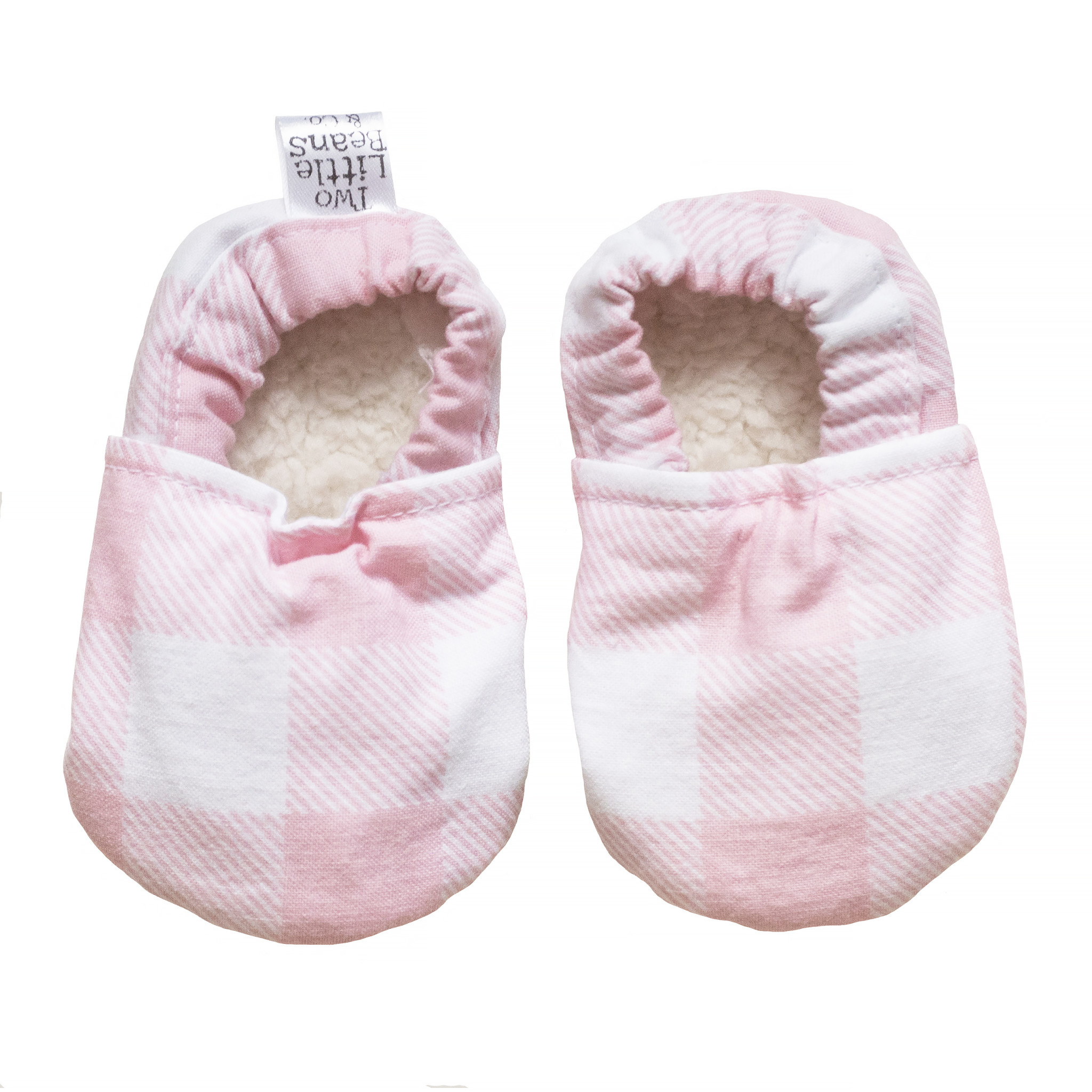 Two Little Beans Baby Booties - Pink Gingham