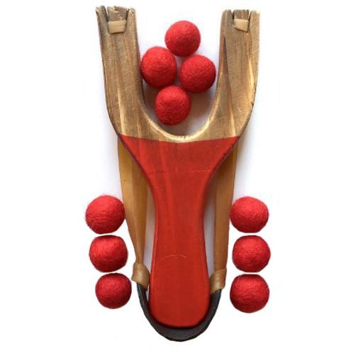 Little Lark Wooden Slingshot - Red Handle with Red Felt Balls
