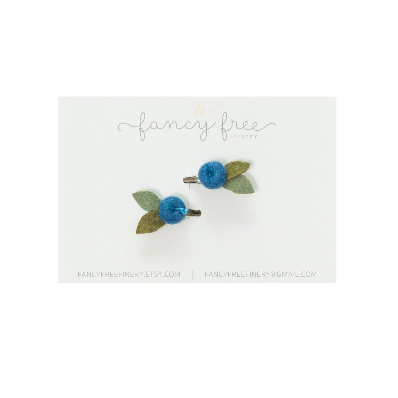 Fancy Free Finery Blueberry Pigtail Clip Set