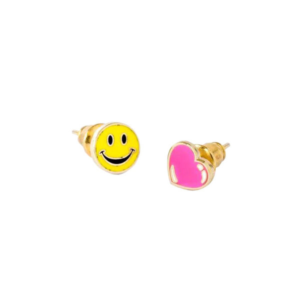 Yellow Owl Workshop Yellow owl Workshop Earrings - Happy Face & Heart