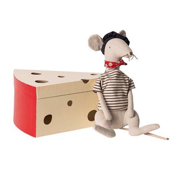 Maileg Maileg Rat In Cheese Box - Light Grey