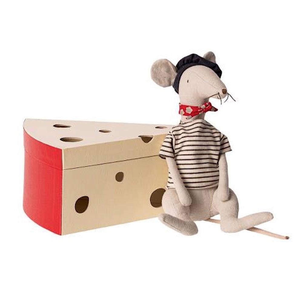 Maileg Rat In Cheese Box - Light Grey