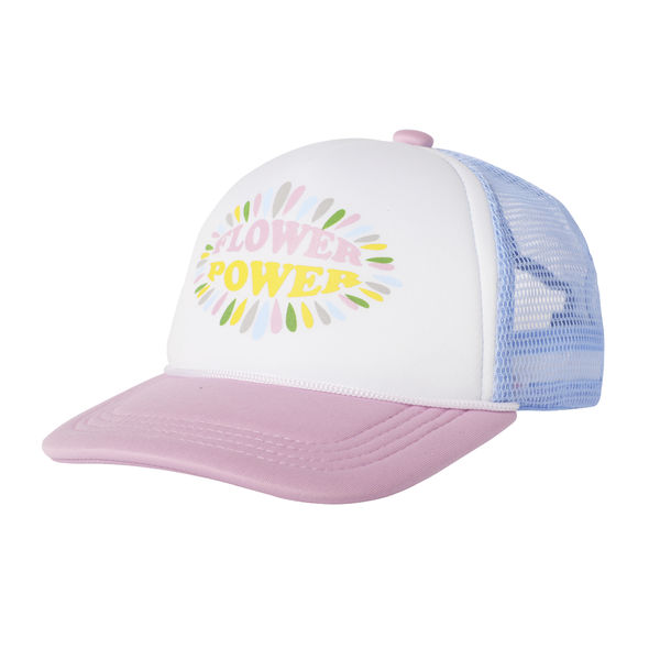 Tiny Whale Tiny Whales Flower Power Kid's Trucker Hat - Pink & Blue
