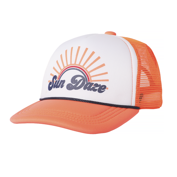 Tiny Whale Tiny Whales Sun Daze Kid's Trucker Hat - Coral & White