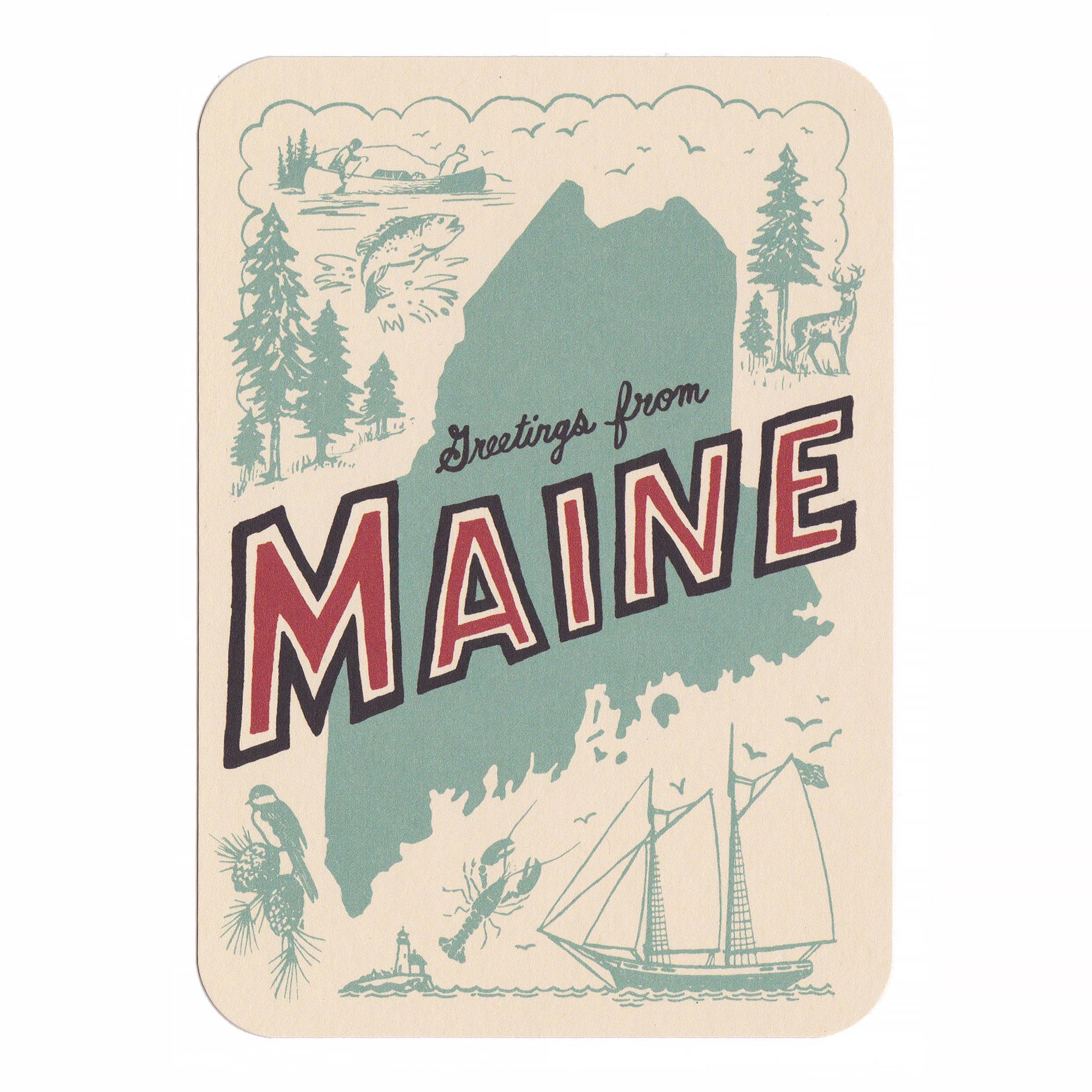 Daytrip Society Retro Maine Postcard - Pack of 5