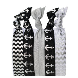Daytrip Society Hair Ties Set of 5 - Black and Silver Sailor
