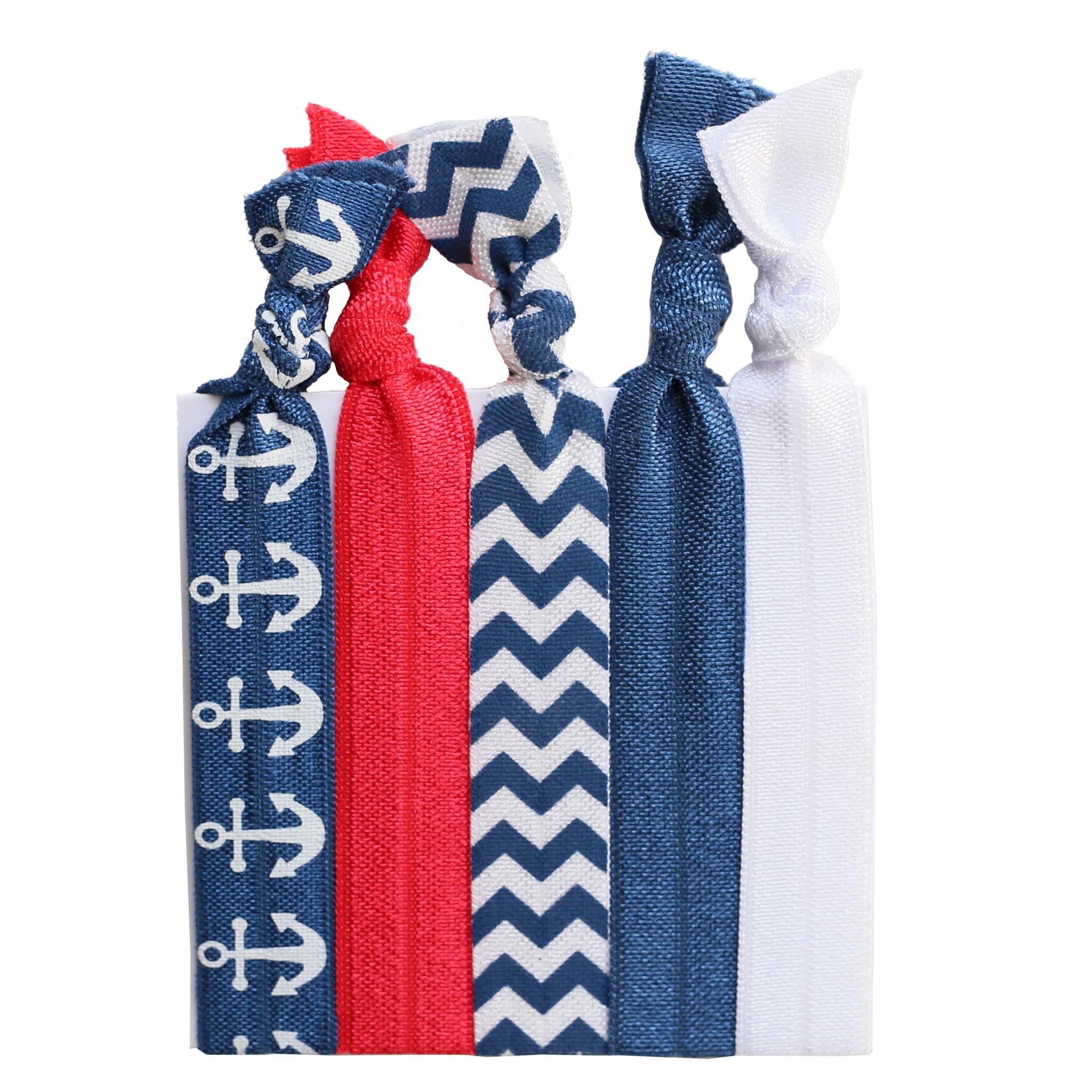 Hair Ties Set of 5 - Nautical
