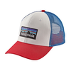 Patagonia P6 Logo Trucker Hat White/Fire/Andes Blue