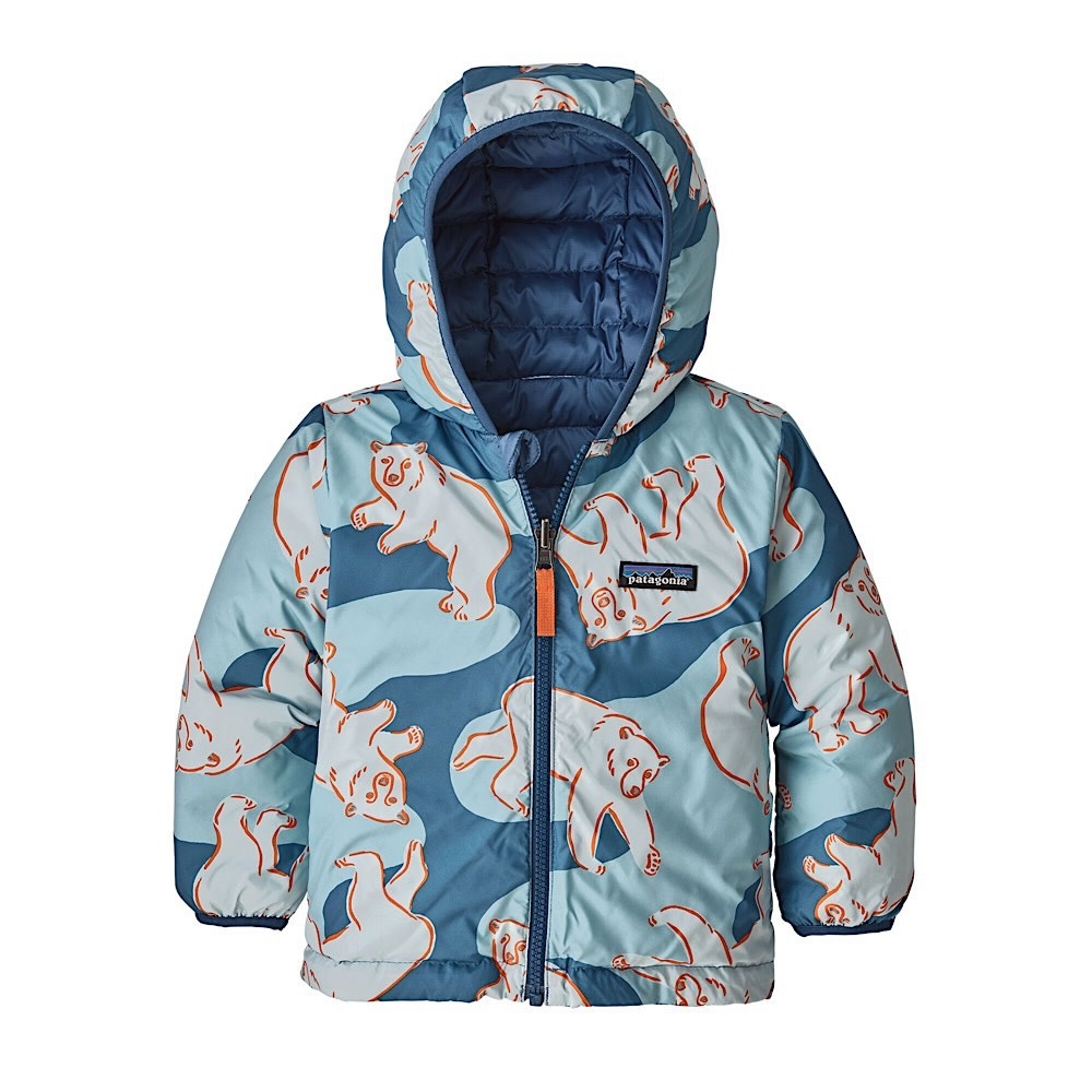Patagonia Baby Reversible Down Sweater Hoody Polar Bears Play: Woolly Blue