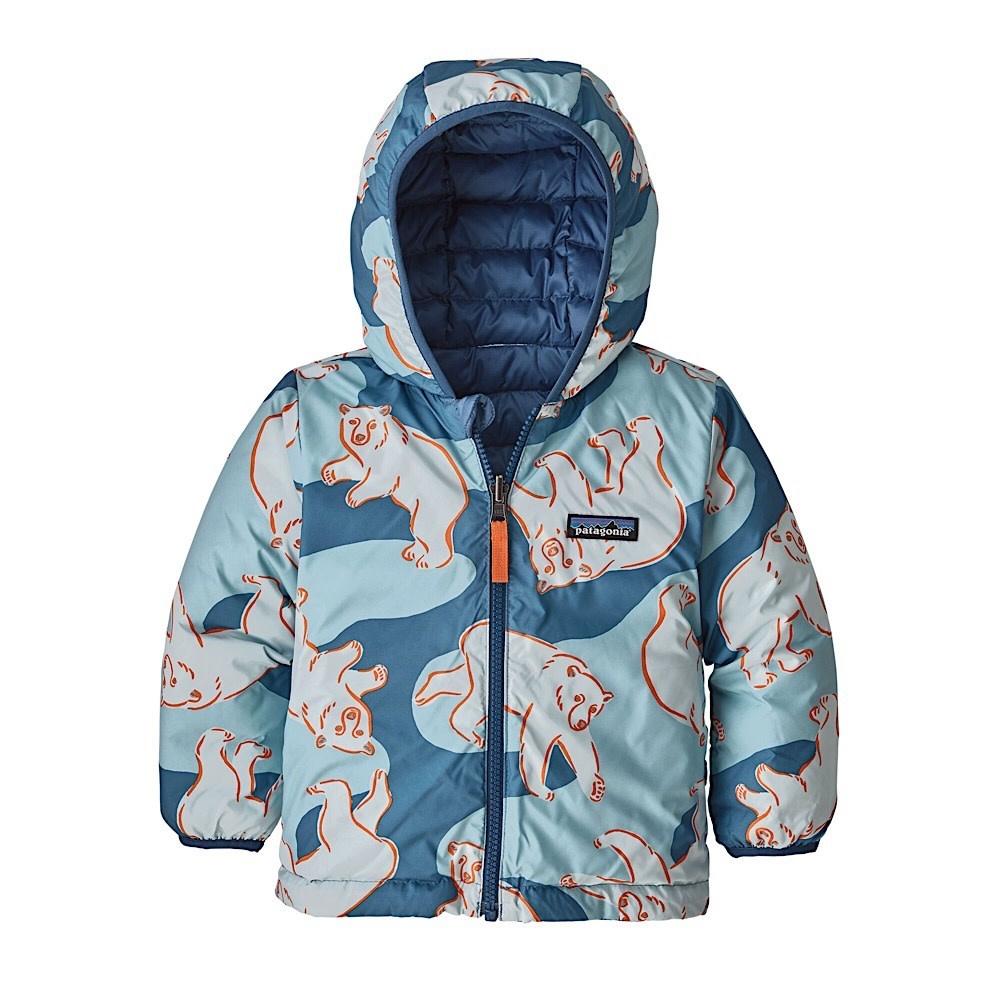 Patagonia Patagonia Baby Reversible Down Sweater Hoody Polar Bears Play: Woolly Blue