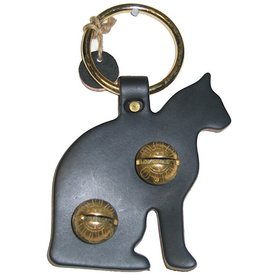 New England Bells Brass Door Chime Bell - Cat - Black
