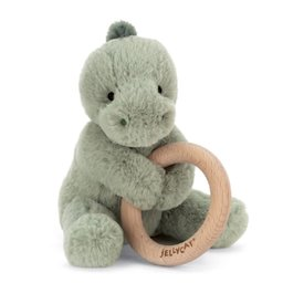 Jellycat Jellycat Wooden Rattle -Shooshu Dino 6""