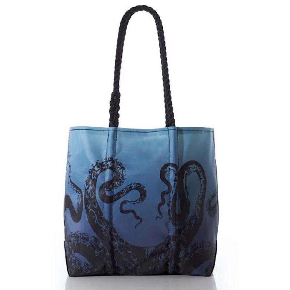 Sea Bags Species Tote - Octopus on Blue Ombre - Black Handles - Medium