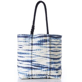 Sea Bags Sea Bags Tote - Shibori Waves - Navy Handles - Medium