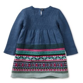 Tea Collection Fairisle Baby Sweater Dress - Cobalt