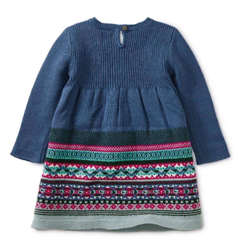 Tea Collection Fairisle Baby Sweater Dress - Cobalt