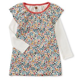 Tea Collection Tea Collection Printed Layered Sleeve Baby Dress - Sunrise Floral - Chalk