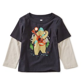 Tea Collection Tea Collection Camp Bear Graphic Layered Tee - Indigo