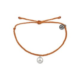 Pura Vida Pura Vida Bracelet - Peace Sign - Burnt Orange/Silver