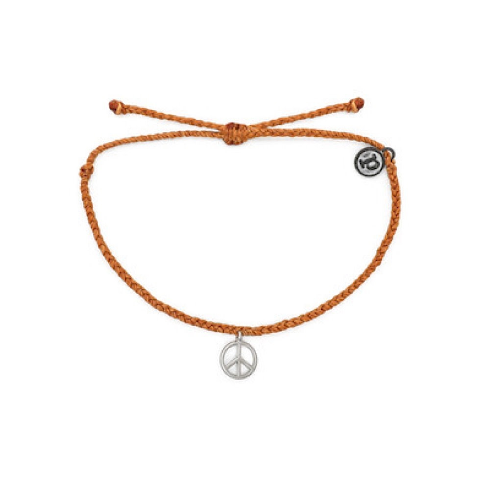 Pura Vida Bracelet - Peace Sign - Burnt Orange/Silver
