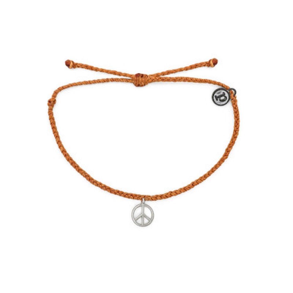 Pura Vida Pura Vida Bracelet - Peace Sign - Burnt Orange/Silver