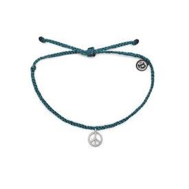 Pura Vida Pura Vida Bitty Charm Bracelet - Peace Sign - Mediterranean Green - Silver