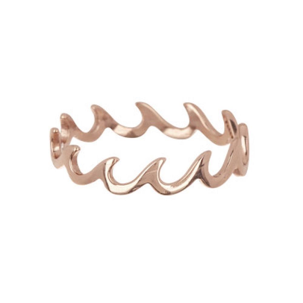 Pura Vida Wave Band Ring - Rose Gold