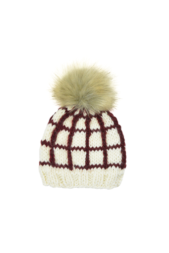 The Blueberry Hill Adult Window Pane Hat Pomegranate - L