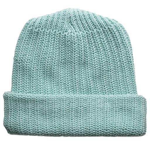 Solid Cotton Knit Hat - Aqua