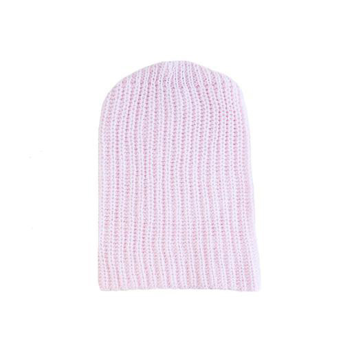 Solid Cotton Knit Hat - Light Pink