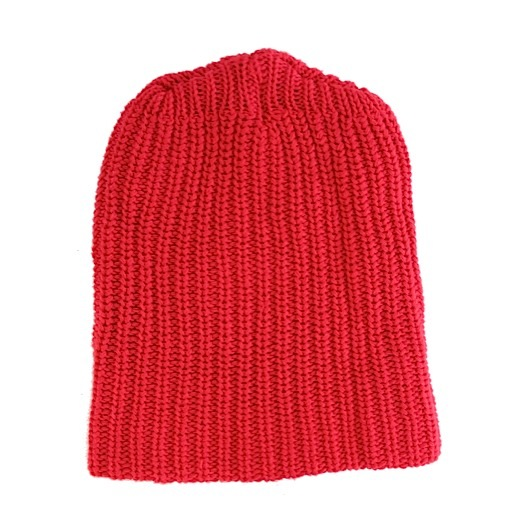 Solid Cotton Knit Hat - Red