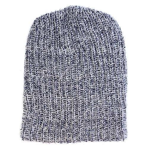 Marled Cotton Knit Hat - Navy Heather